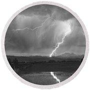 Lightning Striking Longs Peak Foothills 2bw Round Beach Towel