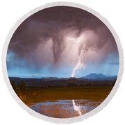 Lightning Striking Longs Peak Foothills 3 Round Beach Towel