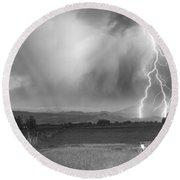 Lightning Striking Longs Peak Foothills 6bw Round Beach Towel by James BO  Insogna