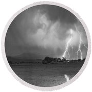 Lightning Striking Longs Peak Foothills 8cbw Round Beach Towel by James BO  Insogna