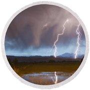 Lightning Striking Longs Peak Foothills Round Beach Towel