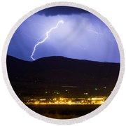 Lightning Striking Over Ibm Boulder Co 1 Round Beach Towel