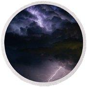 Lightning Thunderhead Storm Rumble Round Beach Towel