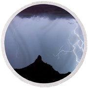 Lightning Thunderstorm At Pinnacle Peak Round Beach Towel by James BO  Insogna