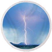 Lightning Twine Striking The Colorado Rocky Mountain Foothills Round Beach Towel