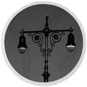 Lights Of Coney Island In Black And White Round Beach Towel