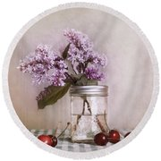 Lilac And Cherries Round Beach Towel