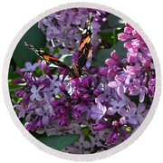 Lilac Butterfly Round Beach Towel