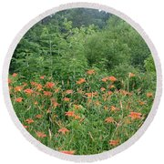 Lillies In The Valley Round Beach Towel