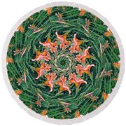 Lilly In Abstract Round Beach Towel