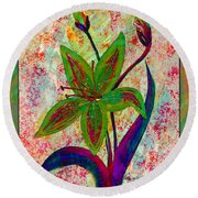 Lily Abstraction Round Beach Towel