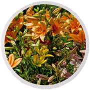 Lily Garden Bouquet  Round Beach Towel