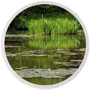 Lily Pads At Giverney Round Beach Towel