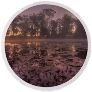 Lily Pads In The Fog Round Beach Towel