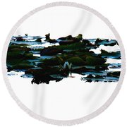 Lily Pads On White Water Round Beach Towel