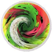 Lime And Red Round Beach Towel