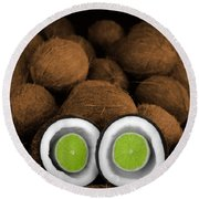 Lime In The Coconut Round Beach Towel