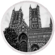 Lincoln Cathedral Facade Round Beach Towel