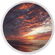 Lincoln City Sunset Round Beach Towel
