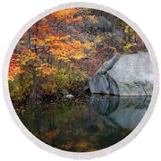 Lincoln Woods Autumn Boulders Round Beach Towel