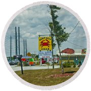 Line For The Swing Bridge Round Beach Towel