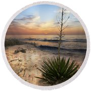 Linger By The Sea Round Beach Towel