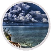 Lingering Clouds Round Beach Towel