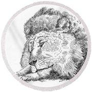 Lion-art-black-white Round Beach Towel