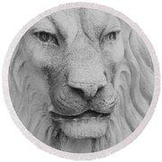 Lion In Stone Round Beach Towel