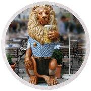 Lion Of Beer Round Beach Towel