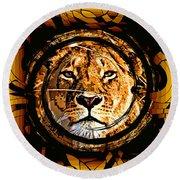 Lioness Face Round Beach Towel