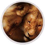 Lioness Love Round Beach Towel