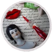 Lips Pen And Old Letter Round Beach Towel