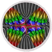 Liquid Metal Butterfly Round Beach Towel