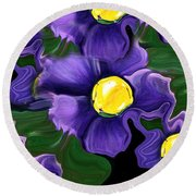 Liquid Violets Round Beach Towel