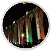 Lisbon Historic Aqueduct By Night Round Beach Towel