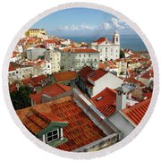 Lisbon Rooftops Round Beach Towel by Carlos Caetano