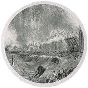 Lisbon Tsunami, 1755 Round Beach Towel
