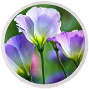 Lisianthus Number 6 Round Beach Towel