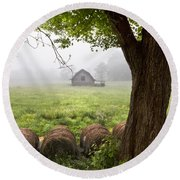 Little Barn Round Beach Towel by Debra and Dave Vanderlaan