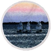 Little Boats Round Beach Towel