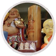 Little Buddhas In Silom In Bangkok In Thailand Round Beach Towel