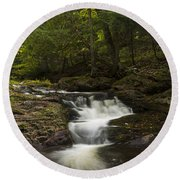 Little Carp River Falls 3 Round Beach Towel