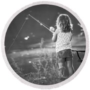 Little Fishing Girl Round Beach Towel
