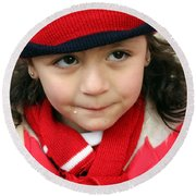 Little Girl In Red Round Beach Towel