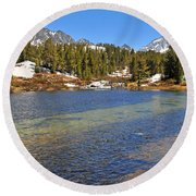 Little Lakes Valley Round Beach Towel