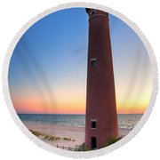Little Sable Point Light Station Round Beach Towel