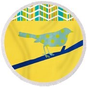 Little Song Bird Round Beach Towel by Linda Woods