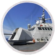 Littoral Combat Ship Uss Freedom Round Beach Towel by Stocktrek Images