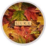 Live-autumn Round Beach Towel